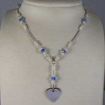.925 RHODIUM NECKLACE WITH BLUE CRYSTALS, WHITE PEARLS AND HEART