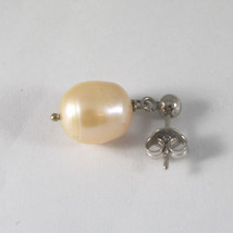 SOLID 18K WHITE GOLD EARRINGS, WITH PEARLS, LENGTH 0,87 INCHES, MADE IN ITALY. image 4
