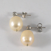 SOLID 18K WHITE GOLD EARRINGS, WITH PEARLS, LENGTH 0,87 INCHES, MADE IN ITALY. image 3