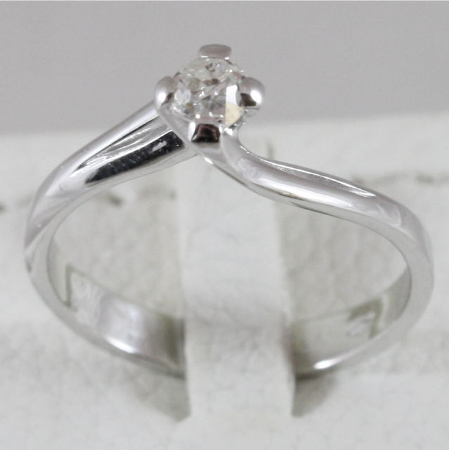 18K 750 WHITE GOLD SOLITAIRE RING WITH DIAMOND CT 0.24 COLOR H VVS MADE IN ITALY