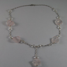 .925 SILVER RHODIUM NECKLACE WITH TRANSPARENT AND PINK CRISTALS LENGTH 16,93 IN image 2