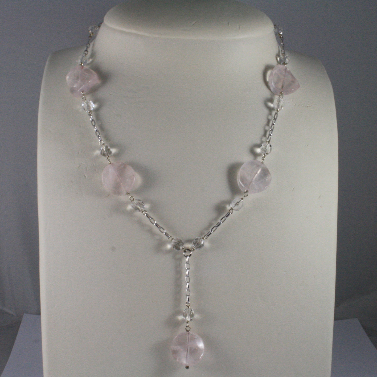 .925 SILVER RHODIUM NECKLACE WITH TRANSPARENT AND PINK CRISTALS LENGTH 16,93 IN