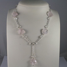.925 SILVER RHODIUM NECKLACE WITH TRANSPARENT AND PINK CRISTALS LENGTH 16,93 IN image 1