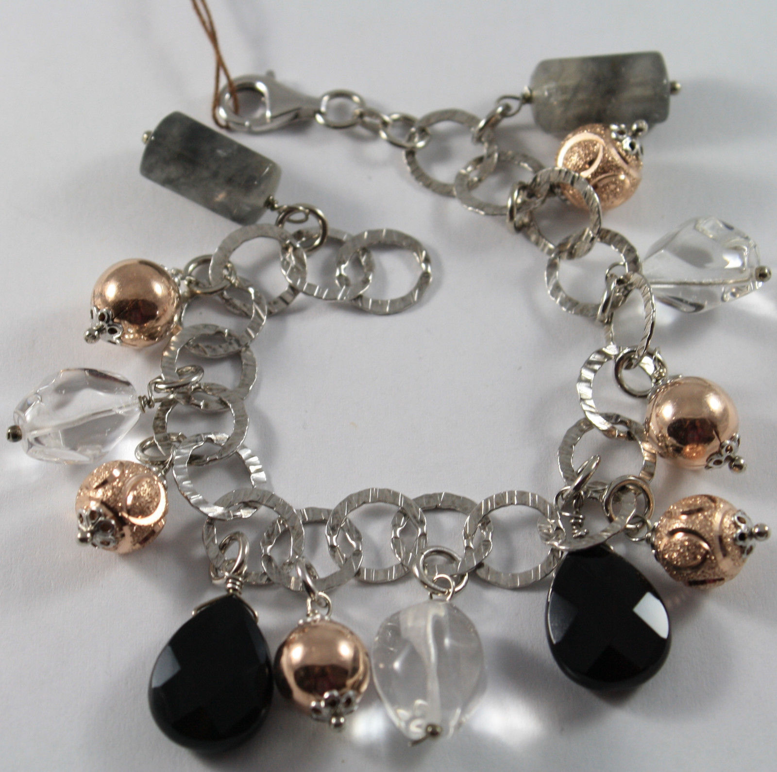 .925 RHODIUM SILVER BRACELET WITH BLACK ONYX, GRAY QUARTZ AND CRYSTAL