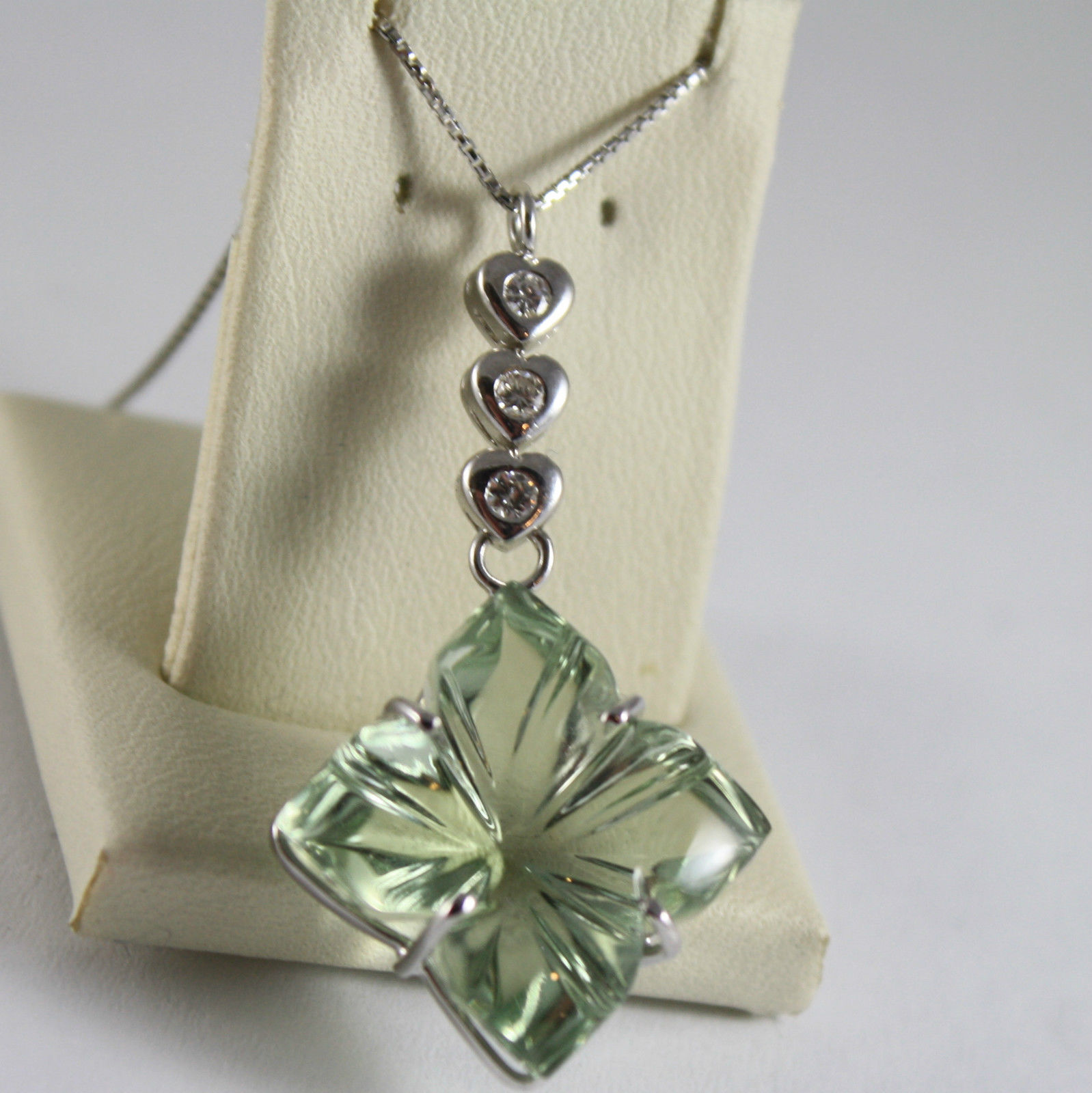 SOLID 18K WHITE GOLD NECKLACE HEART, DIAMOND PRASIOLITE FLOWER CUT MADE IN ITALY