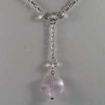 .925 SILVER RHODIUM NECKLACE WITH TRANSPARENT AND PINK CRISTALS LENGTH 16,93 IN image 3