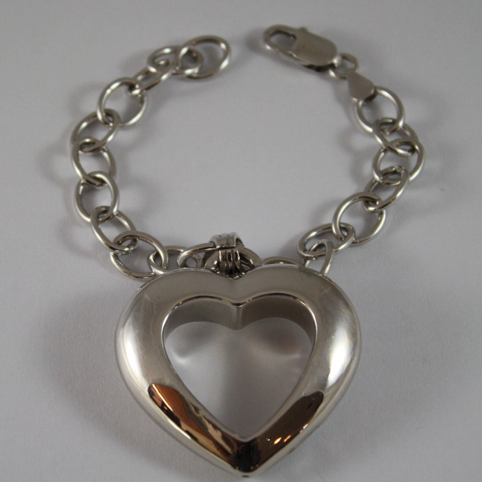 .925 RHODIUM SILVER BRACELET WITH BIG HEART