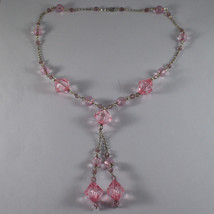 .925 SILVER RHODIUM NECKLACE WITH PINK CRYSTALS LENGTH 17,13 IN image 2