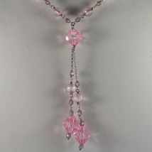 .925 SILVER RHODIUM NECKLACE WITH PINK CRYSTALS LENGTH 17,13 IN image 3