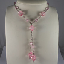 .925 SILVER RHODIUM NECKLACE WITH PINK CRYSTALS LENGTH 17,13 IN image 1