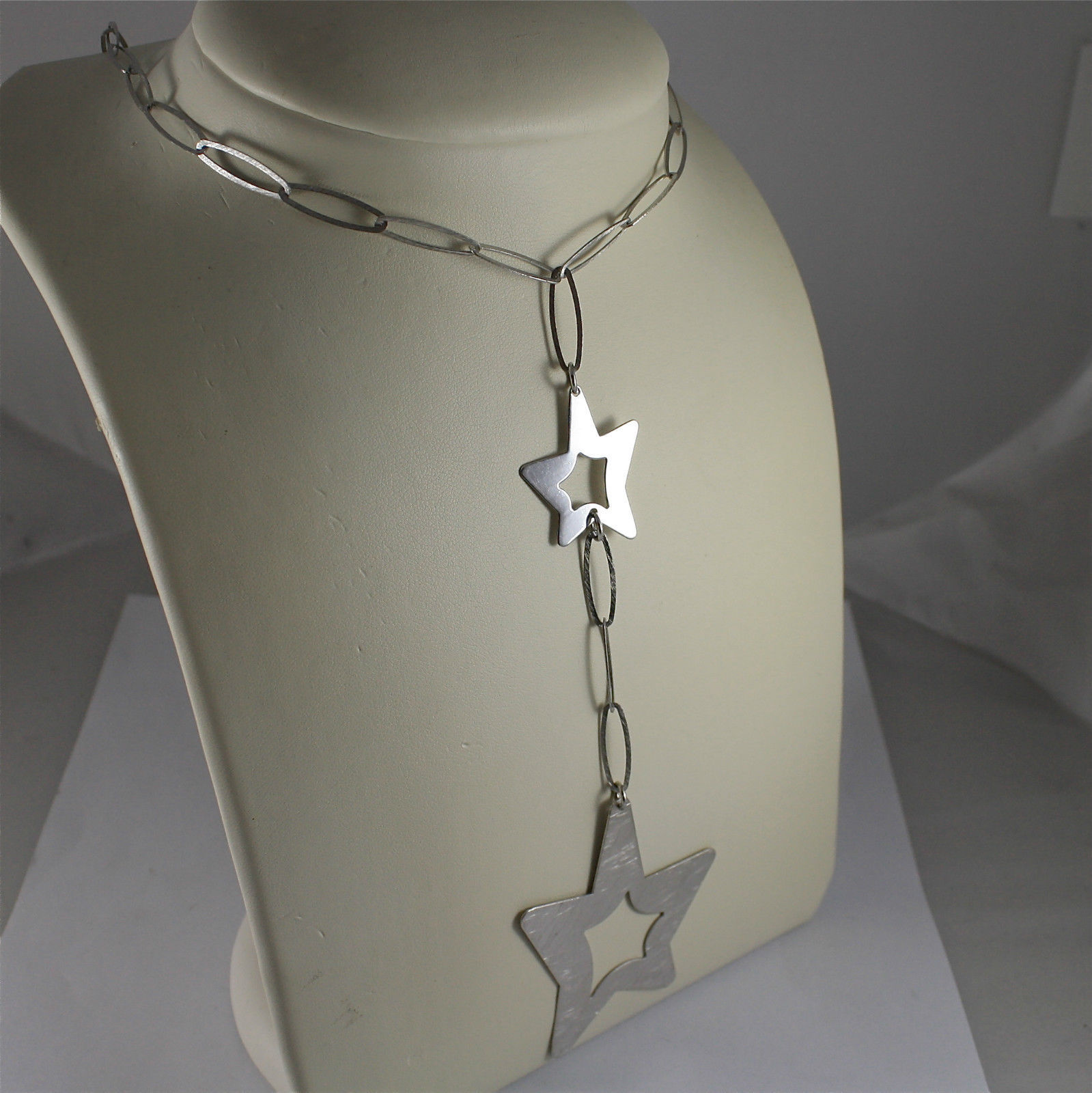 .925 RHODIUM SILVER NECKLACE, SCARF, SATIN OVAL MESH, TWO SATIN WORKED STARS.