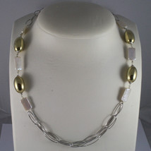 .925 SILVER RHODIUM NECKLACE WITH RECTANGULAR WHITE PEARLS AND GOLDEN OVALS image 1
