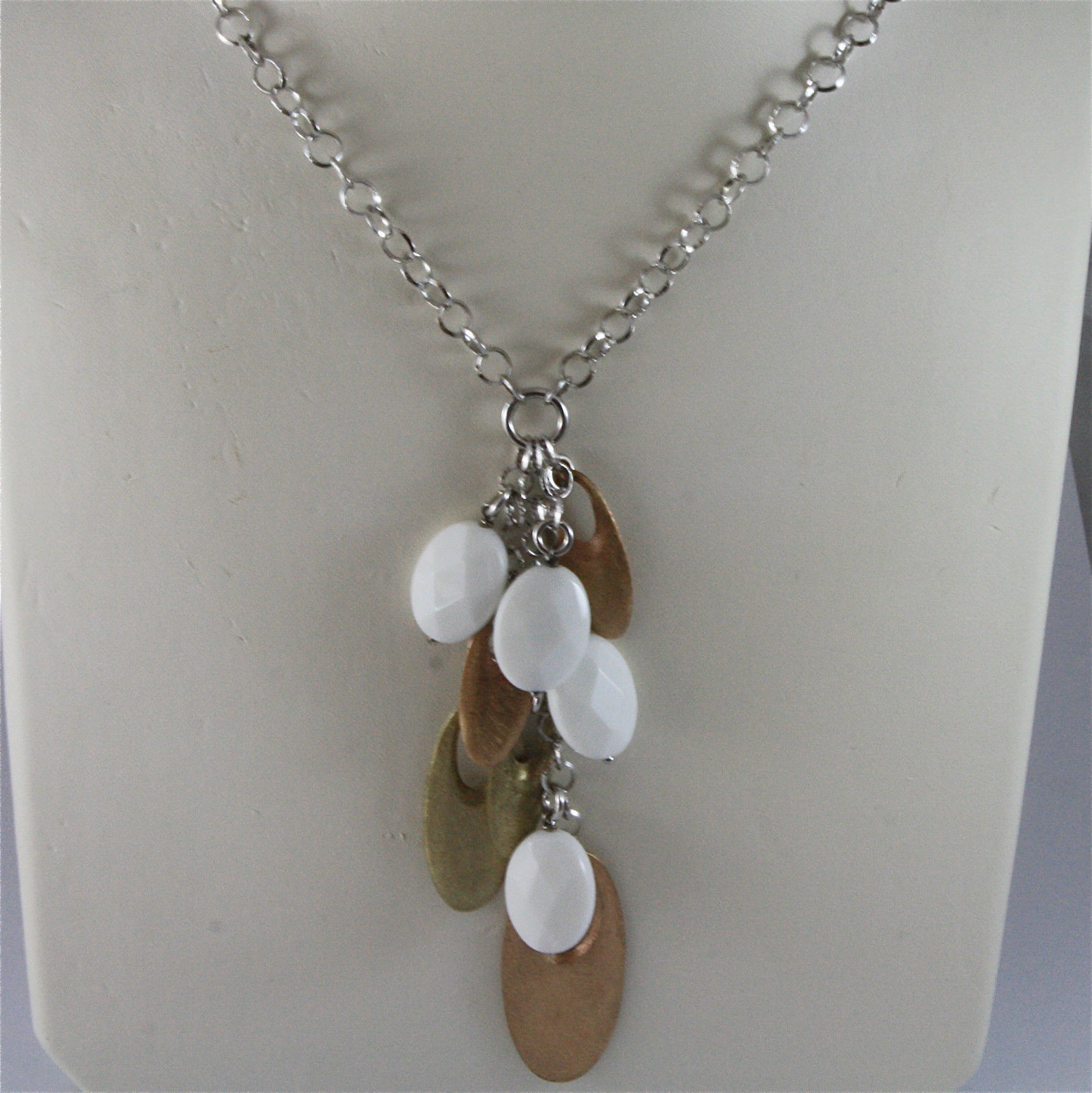 .925 SILVER RHODIUM NECKLACE 17,72 In, WHITE AGATE, GOLD PLT OVAL PENDANTS.