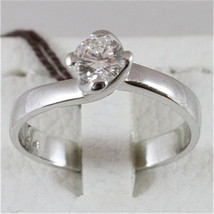 18K 750 WHITE GOLD SOLITAIRE RING WITH DIAMOND CT 0.44 COLOR H VVS MADE IN ITALY