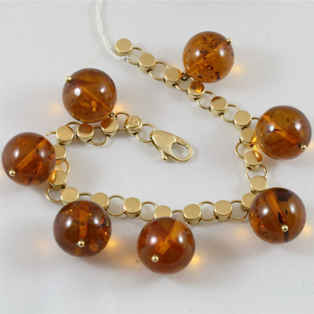 18K 750 YELLOW GOLD BRACELET WITH AMBER CHARMS, MADE IN ITALY