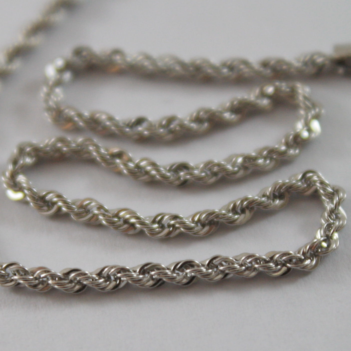 18K WHITE GOLD CHAIN NECKLACE, BRAID ROPE 15.75 INCH LONG, MADE IN ITALY
