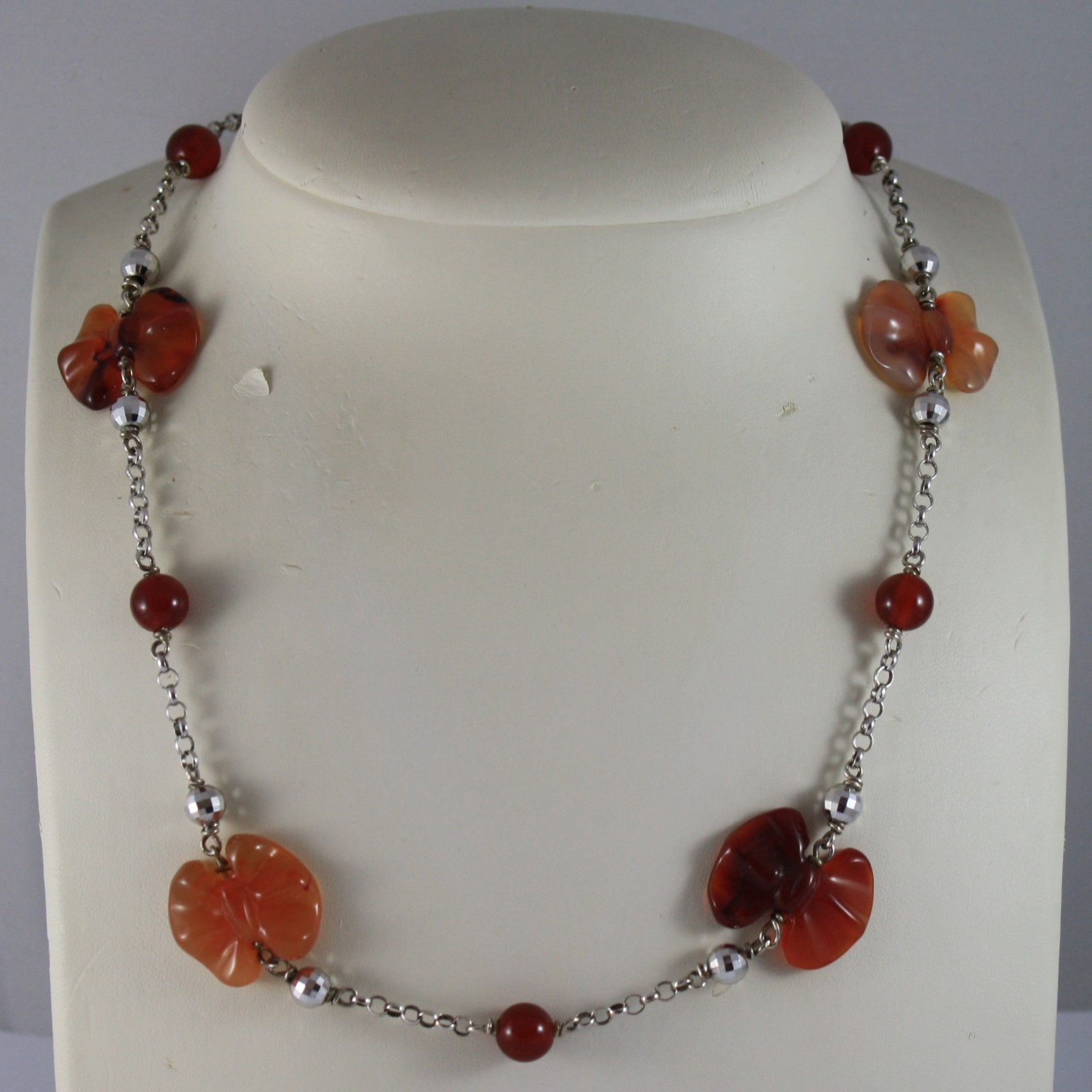 .925 RHODIUM SILVER NECKLACE WITH RED CARNELIAN AND AGATE