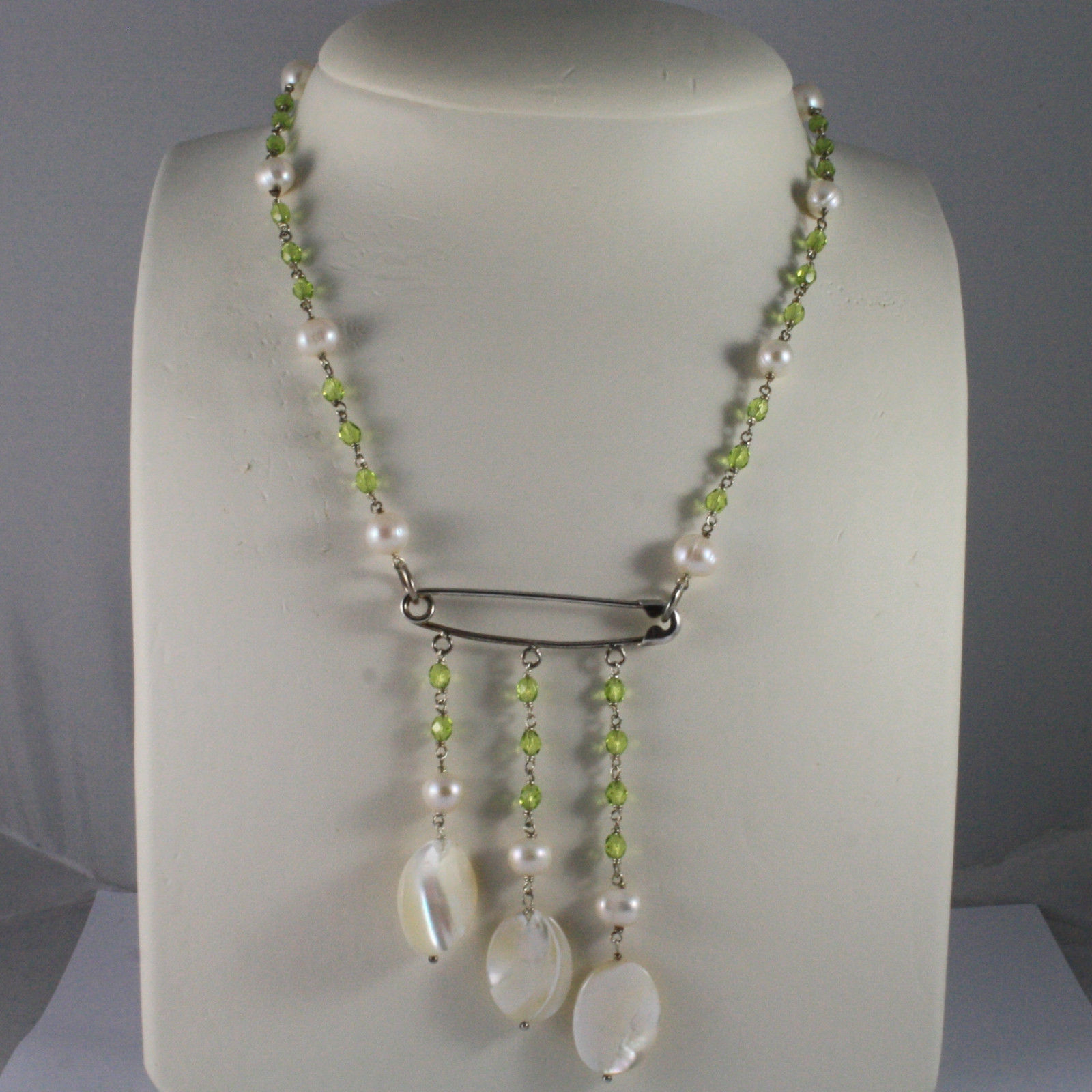.925 SILVER RHODIUM NECKLACE WITH GREEN CRISTALS, MOTHER OF PEARL, WHITE PEARLS