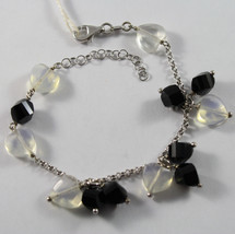 .925 RHODIUM SILVER BRACELET WITH BLACK ONYX AND TRASPARENT OPAL image 1