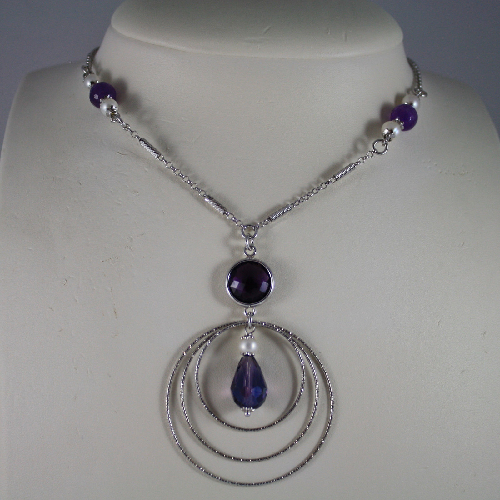 .925 SILVER RHODIUM NECKLACE WITH PURPLE CRYSTALS, WHITE PEARLS AND AMETHYST