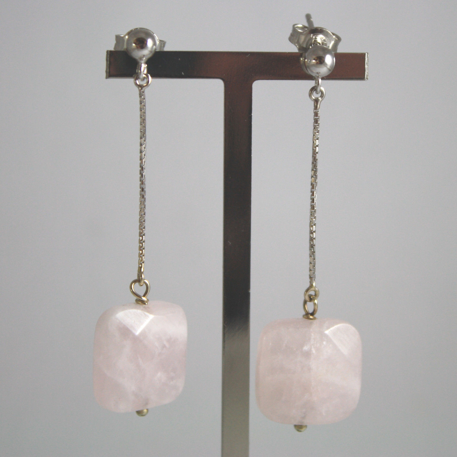SOLID 18K WHITE GOLD EARRINGS, WITH SQUARE PINK QUARTZ, LENGTH 2.13 INCHES