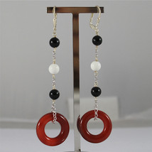 .925 RHODIUM SILVER EARRINGS, BLACK ONYX, WHITE AGATE, CARNELIAN'S RINGS.