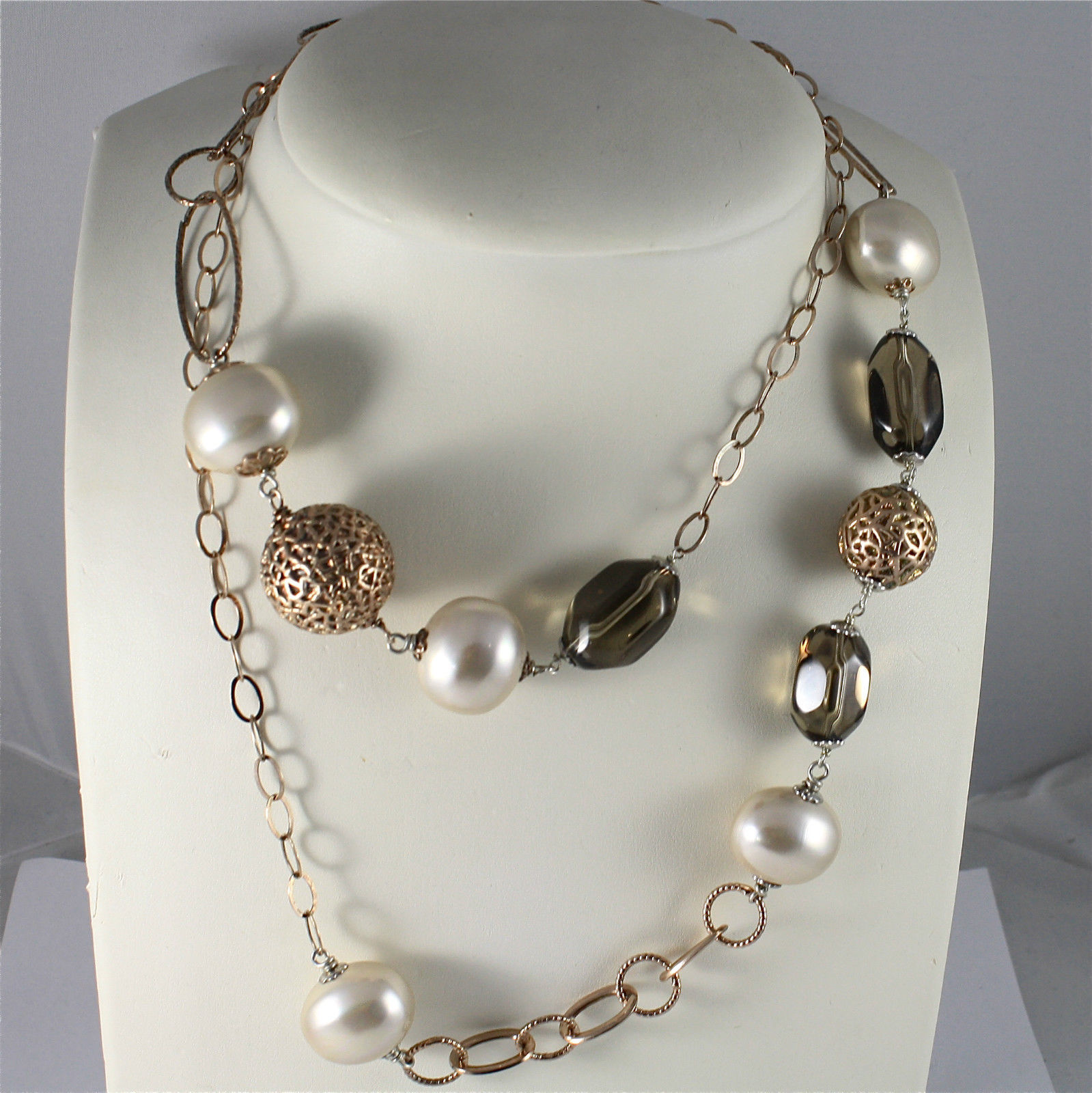 .925 SILVER NECKLACE WITH SYNTHETIC PEARLS, SMOKED CRISTALS, ROSE GOLD PLATED