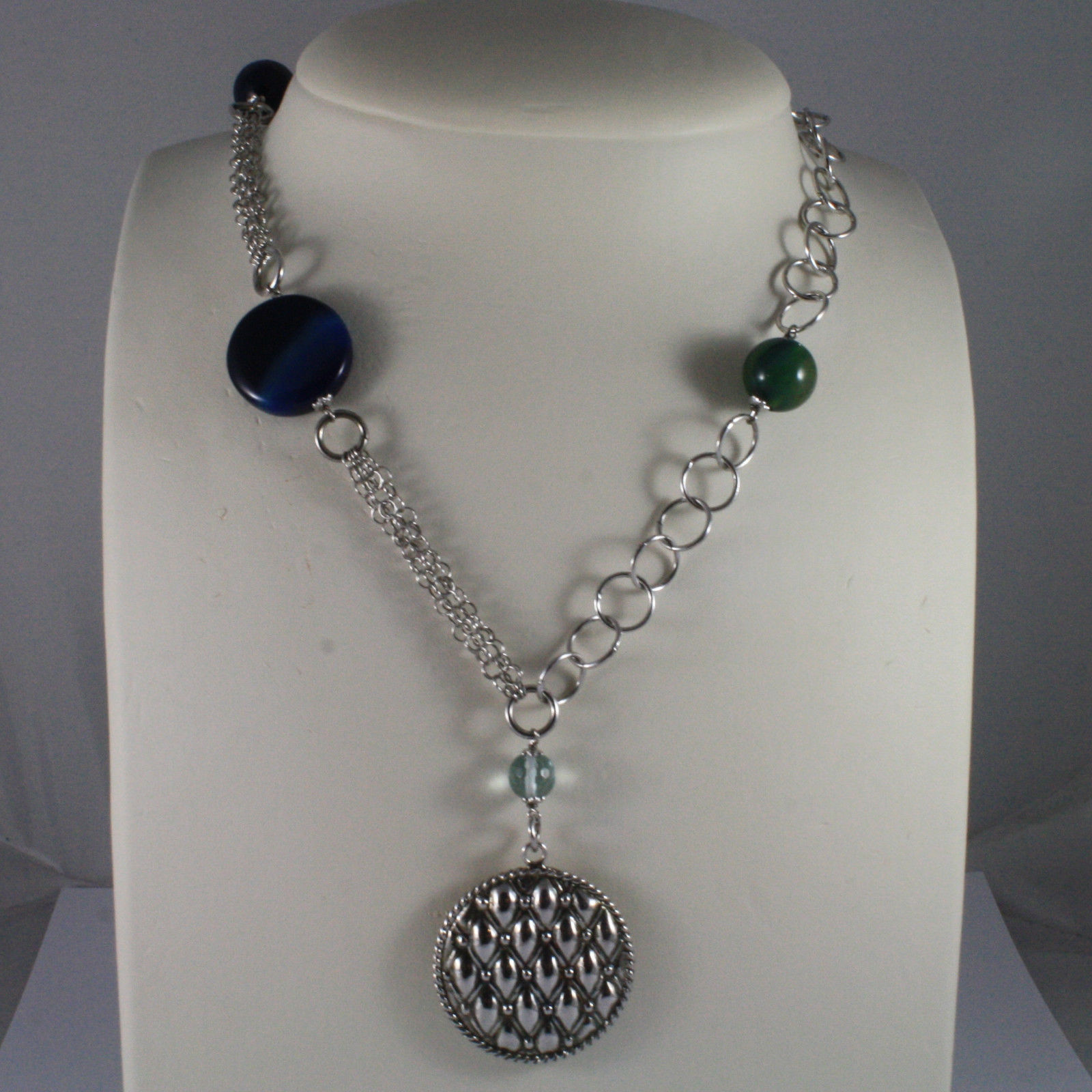 .925 SILVER RHODIUM NECKLACE WITH BLUE AND GREEN AGATE AND SILVER PENDANT