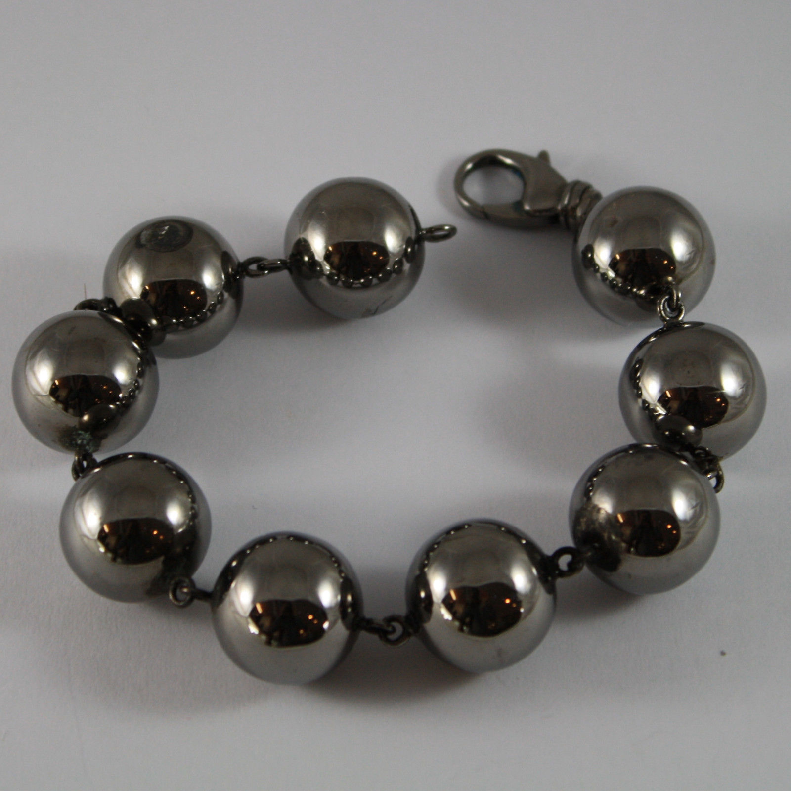 .925 RHODIUM SILVER BURNISHED BRACELET WITH BIG SPHERES