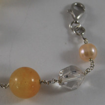 .925 RHODIUM SILVER BRACELET WITH ORANGE AGATE, WHITE&ROSE PEARLS AND CRYSTALS image 2