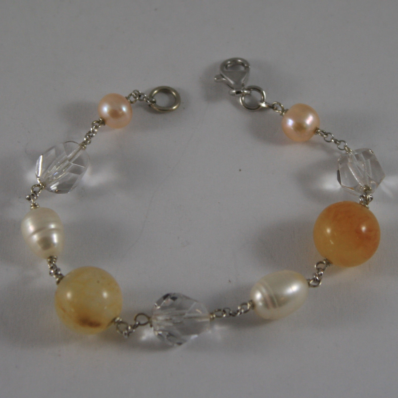 .925 RHODIUM SILVER BRACELET WITH ORANGE AGATE, WHITE&ROSE PEARLS AND CRYSTALS