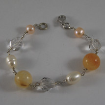 .925 RHODIUM SILVER BRACELET WITH ORANGE AGATE, WHITE&ROSE PEARLS AND CRYSTALS image 1