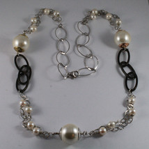 .925 SILVER RHODIUM NECKLACE WITH FRESHWATER WHITE PEARLS AND SYNTHETIC PEARLS image 2