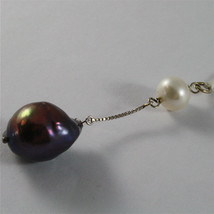 SOLID 18K WHITE GOLD PENDANT, 2,32 In, WHITE ROUND PEARL & BLACK BAROQUE PEARL. image 4