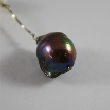 SOLID 18K WHITE GOLD PENDANT, 2,32 In, WHITE ROUND PEARL & BLACK BAROQUE PEARL. image 3