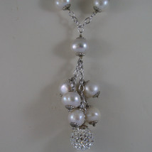 .925 SILVER RHODIUM NECKLACE WITH FRESHWATER WHITE PEARLS AND SPHERE WITH ZIRCON image 3