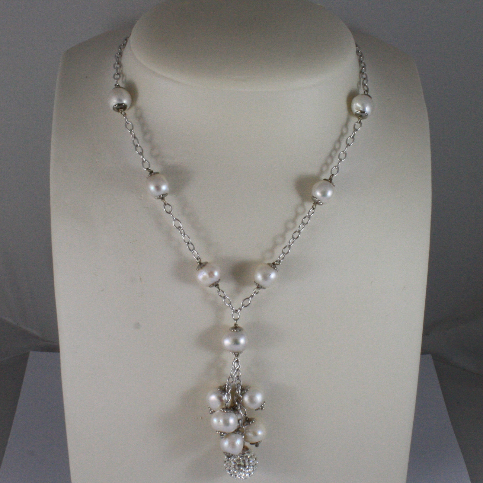 .925 SILVER RHODIUM NECKLACE WITH FRESHWATER WHITE PEARLS AND SPHERE WITH ZIRCON