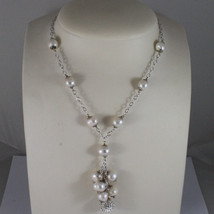.925 SILVER RHODIUM NECKLACE WITH FRESHWATER WHITE PEARLS AND SPHERE WITH ZIRCON image 1