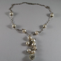 .925 SILVER RHODIUM NECKLACE WITH FRESHWATER WHITE PEARLS AND SPHERE WITH ZIRCON image 2