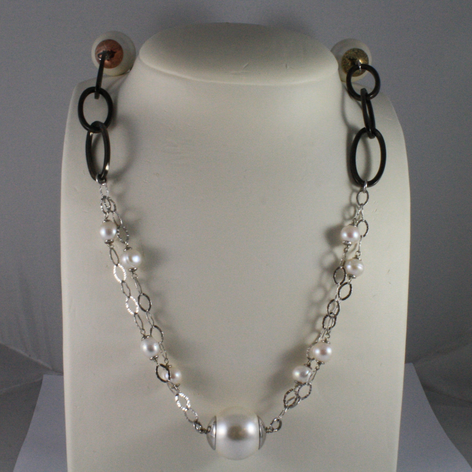 .925 SILVER RHODIUM NECKLACE WITH FRESHWATER WHITE PEARLS AND SYNTHETIC PEARLS