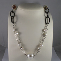 .925 SILVER RHODIUM NECKLACE WITH FRESHWATER WHITE PEARLS AND SYNTHETIC PEARLS image 1