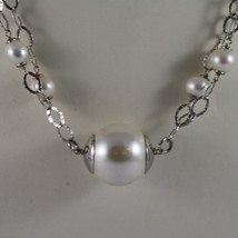 .925 SILVER RHODIUM NECKLACE WITH FRESHWATER WHITE PEARLS AND SYNTHETIC PEARLS image 3