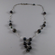 .925 SILVER RHODIUM NECKLACE WITH FRESHWATER GRAY PEARLS AND RHOMBUS MESH image 2