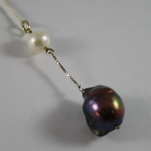 SOLID 18K WHITE GOLD PENDANT, 2,32 In, WHITE ROUND PEARL & BLACK BAROQUE PEARL. image 2