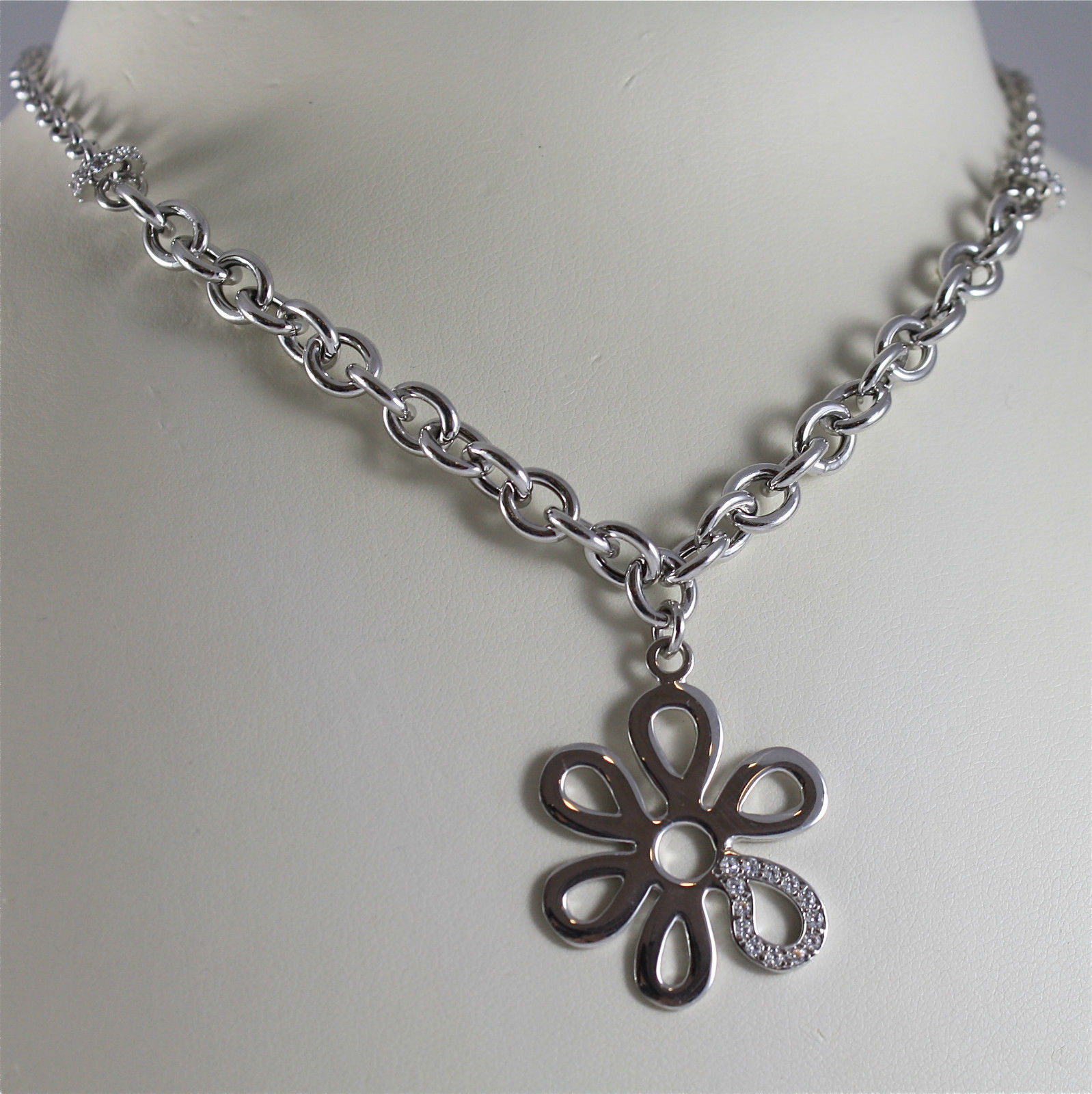 925 SILVER, AQUAFORTE NECKLACE, RHODIUM PL., FLOWER PENDANT, EMBEDDED ZIRCONIA.