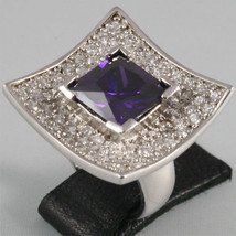 925 SILVER RING, PURPLE CRISTAL, SQUARE PAVE' RADIANT BRILLANT CUT