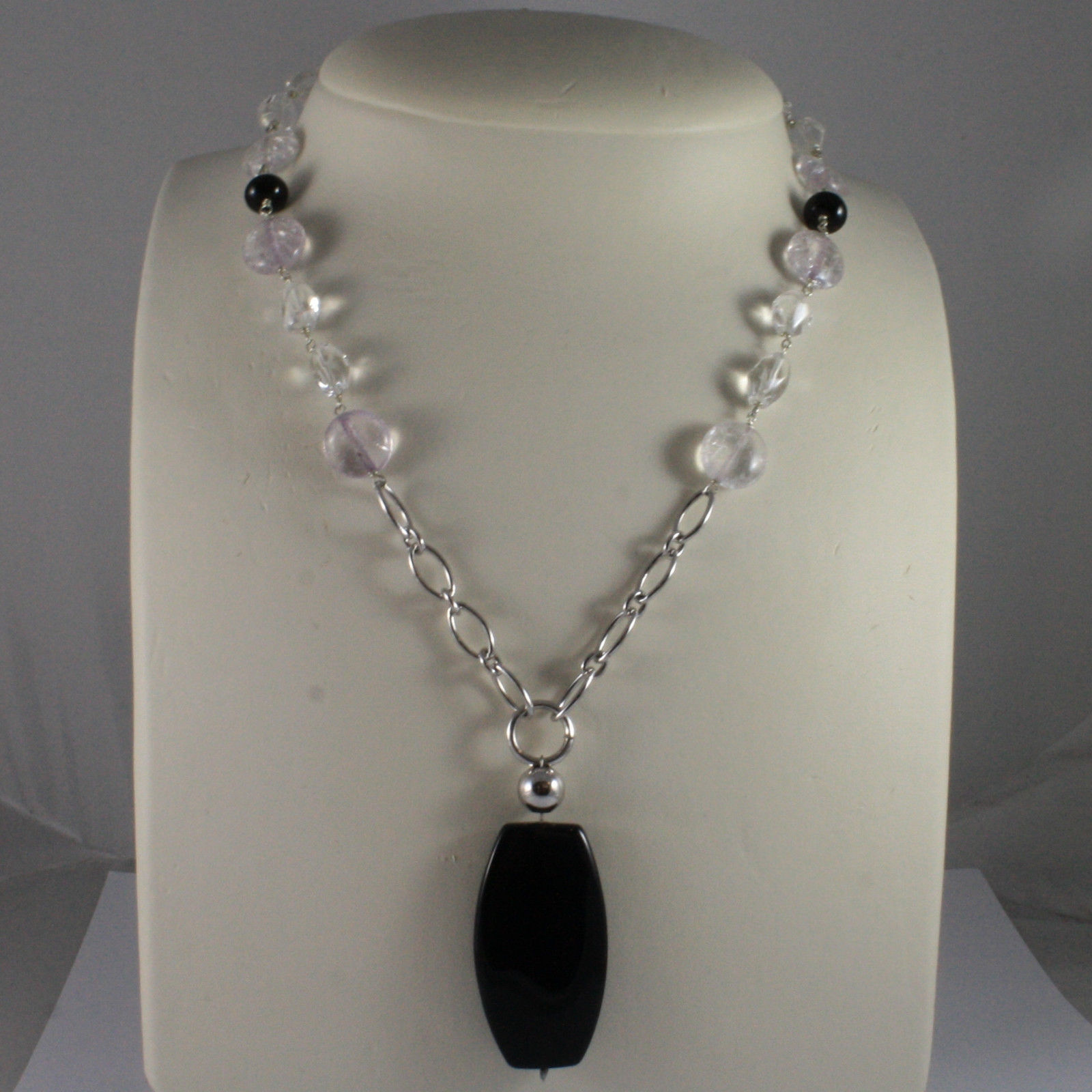 .925 SILVER RHODIUM NECKLACE WITH BLACK ONYX AND TRANSPARENT CRACK CRISTALS