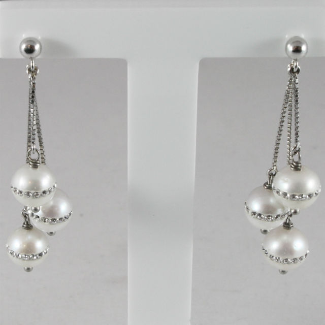 18K WHITE GOLD PENDANT EARRINGS, ROUND PEARLS WITH CRYSTALS, MADE IN ITALY