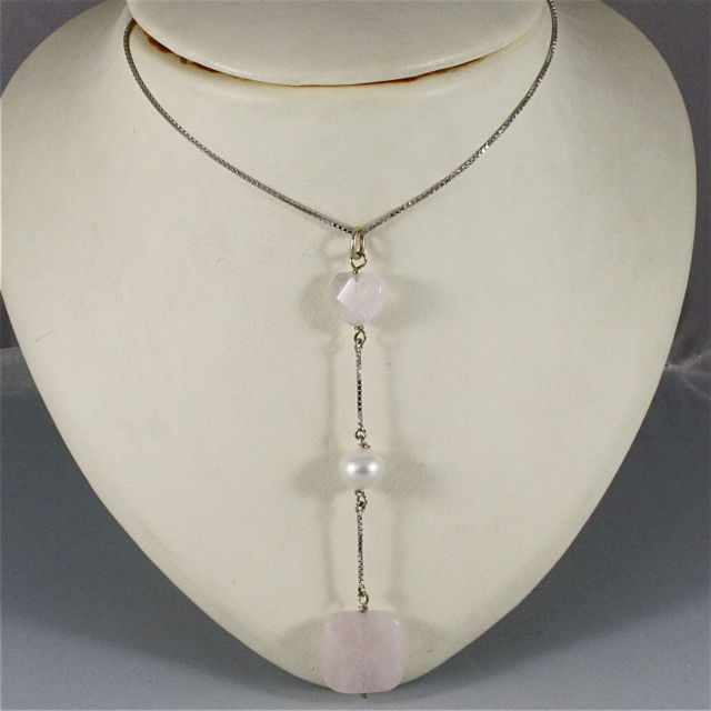 18K WHITE GOLD NECKLACE WITH PENDANT, HEART ROSE QUARTZ AND PEARL, MADE IN ITALY