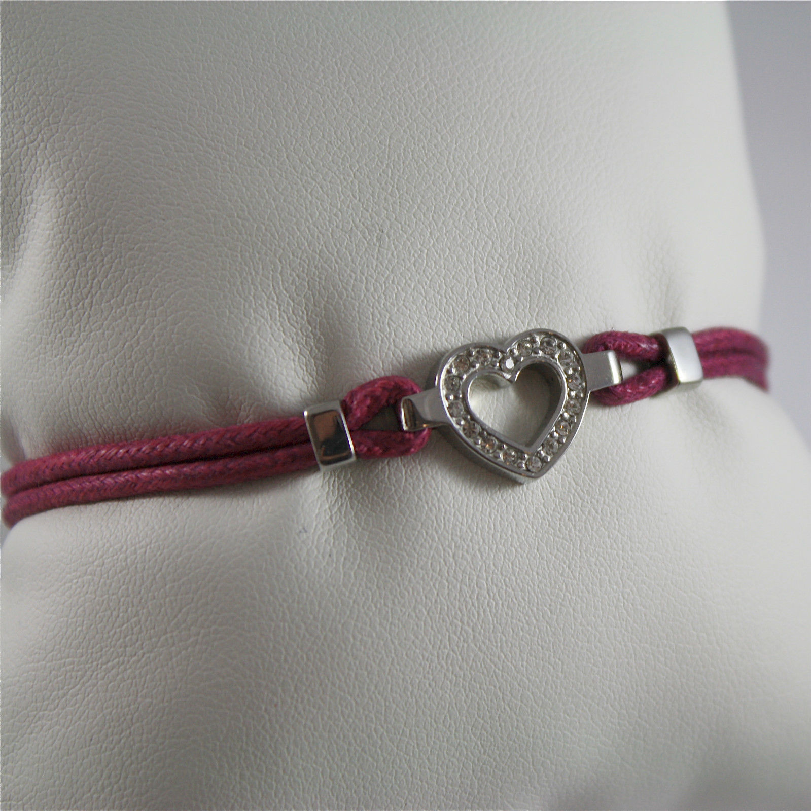 S'AGAPO' BRACELET, 316L STEEL, HEART, WAXED FUXIA COTTON, HEART, CRYSTALS.